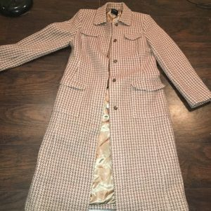 J Crew 100% Wool Mauve Tweed Long Over Coat-Size12